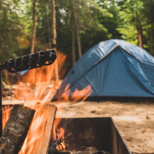 canot camping, feu de camp, tente, kiamika