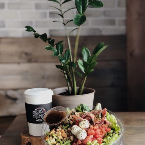 salade, café, emporter, kaffé krème