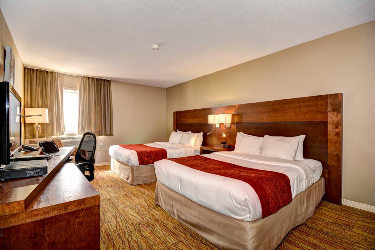 Chambre spacieuse avec deux lits, hôtel