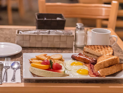 déjeuner, oeuf, bacon, restaurant