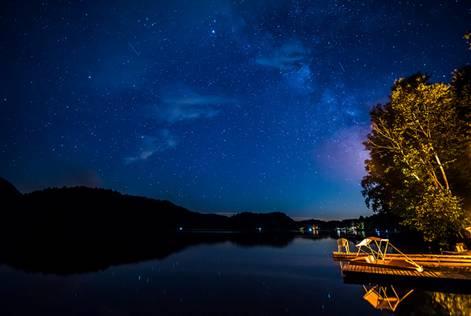 bord de l'eau, quai, ciel étoilé