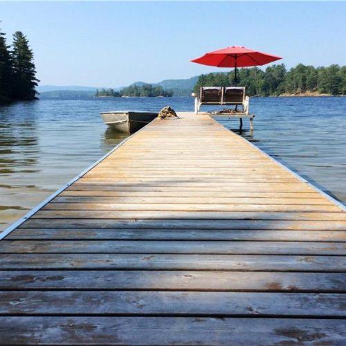 quai, chalet, vue sur le lac, bord de l'eau